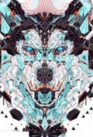 彩绘水彩创意花纹个性设计狼头纹身手稿