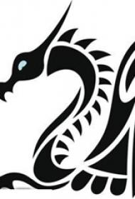 霸气的黑色几何线条小动物飞龙纹身手稿
