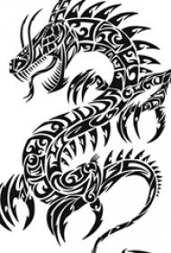 霸气的黑色抽象线条小动物龙纹身手稿