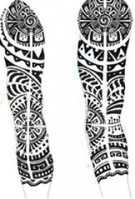 个性的腿部黑色几何线条创意部落纹身手稿
