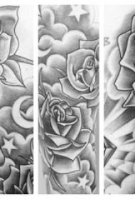 女生手臂上黑色素描点刺技巧创意玫瑰纹身手稿