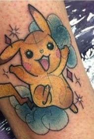 男生手臂上彩绘素描创意神奇宝贝卡通纹身图片