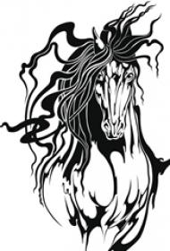 黑色线条素描霸气奔腾中的马动物纹身手稿