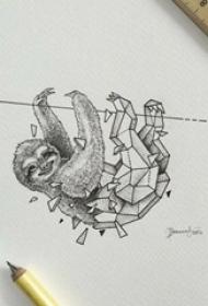 黑灰素描几何元素创意抽象动物纹身手稿