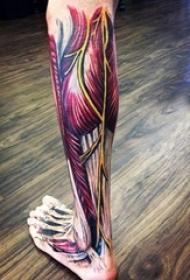 彩绘个性抽象线条3d写实撕裂肌肉纹身图案