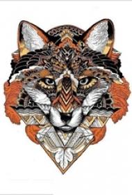 彩绘水彩创意个性花纹狼狗头纹身手稿