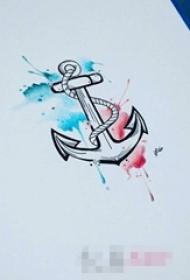 彩绘泼墨技巧简约线条船锚纹身手稿