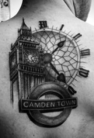 男生背部黑色线条点刺技巧经典建筑大本钟纹身图片