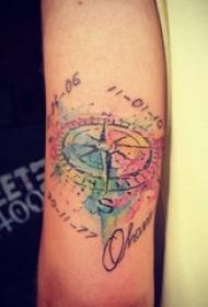 女生手臂上水彩泼墨指南针与数字纹身图片