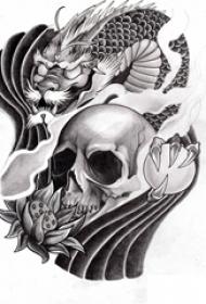 黑灰素描创意骷髅花朵以及龙图腾抽象纹身手稿