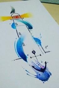 黑色线条灯塔水彩泼墨船锚纹身手稿