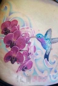 女生腰上彩绘水彩文艺小清新小鸟和花朵纹身图案