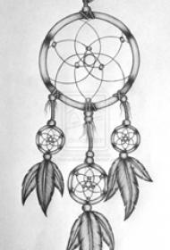 黑灰素描创意梦幻唯美捕梦网纹身手稿