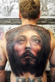 多款关于宗教的黑灰点刺人物肖像耶稣纹身图案