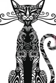 个性的黑色抽象线条小动物猫咪纹身手稿