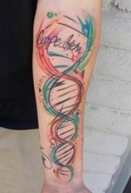 女生手臂上彩绘简约线条创意纹身图