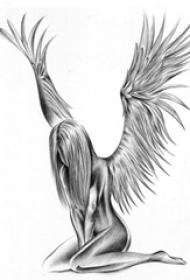 黑灰素描创意唯美天使翅膀女生人物纹身手稿
