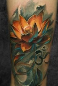 女生小腿上彩绘植物创意佛教莲花纹身图片