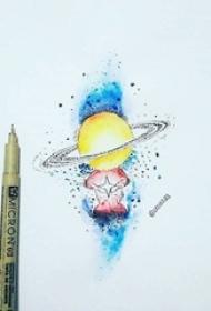 彩绘水彩素描泼墨文艺小清新星球纹身手稿