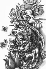 黑灰素描创意抽象福犬图腾纹身手稿