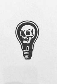 创意的黑色几何线条骷髅和灯泡纹身手稿
