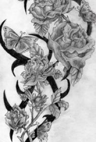 黑灰素描创意唯美花朵图腾纹身手稿