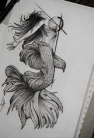有创意的黑色几何元素抽象线条人鱼纹身图片