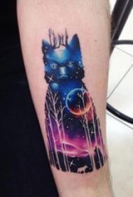 女生手臂上彩绘水彩星空风景狼纹身图片
