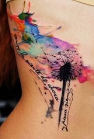 女生侧腰上黑色线条水彩泼墨蒲公英纹身图片