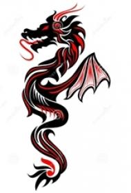红黑素描创意经典霸气龙图腾纹身手