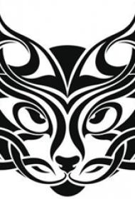 创意的黑色抽象线条小动物老虎纹身手稿