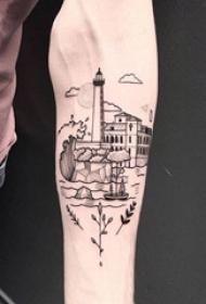 男生手臂上黑色点刺几何线条建筑灯塔纹身图片