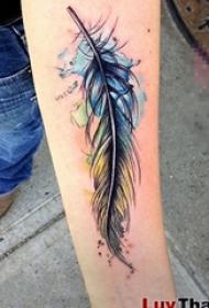 女生手臂上黑色素描羽毛七彩泼墨纹身图片