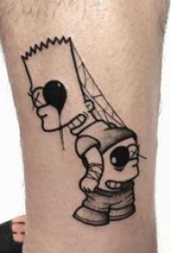 男生小腿上黑灰素描点刺技巧创意经典卡通纹身图片