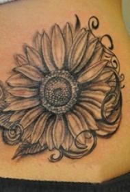 女生背部黑灰素描点刺技巧创意唯美向日葵纹身图片