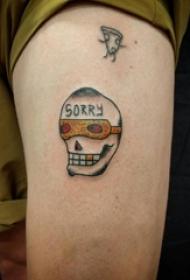 女生大腿上彩绘水彩素描创意骷髅抽象纹身图片