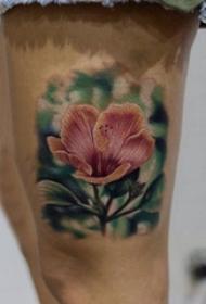 女生大腿上彩绘水彩素描创意唯美花朵纹身图片