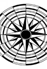 黑色线条创意精致太阳星座纹身手稿