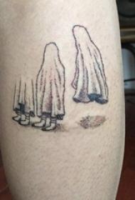 男生小腿上黑灰素描点刺技巧创意幽灵恐怖纹身图片