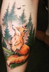 男生小腿上彩绘水彩素描创意狐狸风景纹身图片