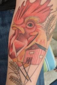 男生手臂上彩绘渐变点刺几何线条建筑和小动物公鸡纹身图片