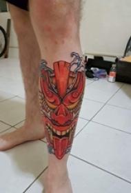 男生小腿上彩绘水彩素描创意般若霸气纹身图片