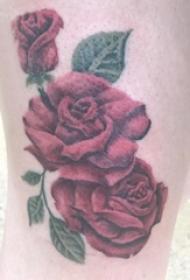 女生大腿上彩绘植物叶子和花朵玫瑰纹身图片