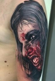 男生手臂上彩绘水彩素描创意恐怖人物纹身图片