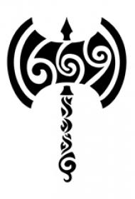 男性喜爱的黑色的斧头形状部落图腾纹身手稿图片