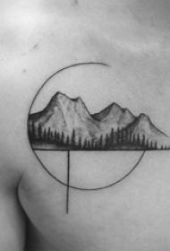 男生胸口黑灰素描点刺技巧创意风景纹身图片