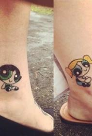闺蜜小腿上彩绘水彩素描创意可爱卡通纹身图片