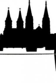雄伟的黑色几何线条创意建筑物轮廓纹身手稿