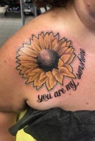 女生肩部彩绘抽象线条英文短句和向日葵纹身图片