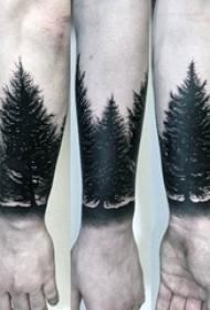 奇妙的黑色点刺简单线条创意剪影纹身图案